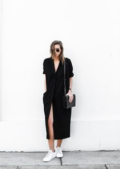 modern legacy blog ASOS duster coat black dress sneakers street style Alexander Wang Prisma clutch monochrome (1 of 13)