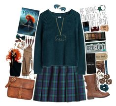 """Merida"" by delphinium-decorum ❤ liked on Polyvore featuring H&M, MTWTFSS Weekday, Jonathan Aston, Boohoo, Butter London, Tressa, Pamela Love, Bee Charming, disney and plaid"
