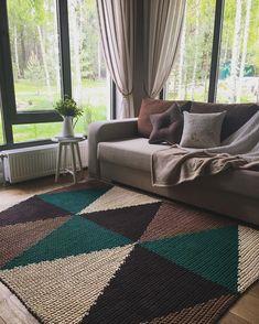 Rectangular crochet rug pattern PDF crochet p Crochet Carpet, Crochet Home, Diy Carpet, Rugs On Carpet, Carpets, Hall Carpet, Crochet Rug Patterns, Crochet Rugs, Knitted Rug