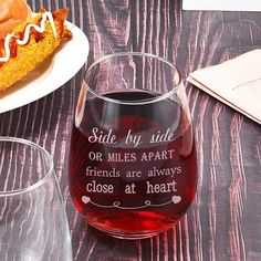 Miles Apart Close At Heart Friendship Wine Glass