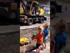 Bro construction worker fills kids' truck toy wit his big machine Construction Worker, Toy Trucks, Bro, Humor, Toys, Children, Videos, Amazing, Activity Toys
