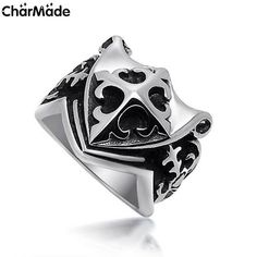Middle Ages S.H.I.E.L.D Ring For Man Stainless Steel Unique Scout Lily Cross.