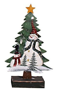 Holiday Snowman on a Christmas Tree with Base