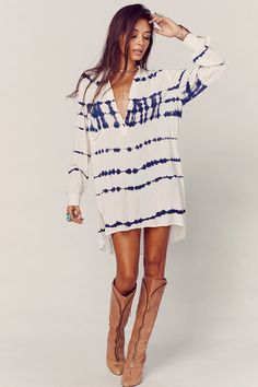 Blue Life Shirt Dress Boho Batik