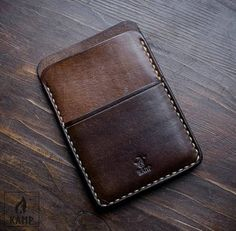 Wallet / card holder made from veg tanned leather. It is dyed brown and oiled, so it will create nice patina over time. ****************************************************************************** Please be aware, that due to hand made nature, color and Leather Front Pocket Wallet, Leather Wallet Pattern, Handmade Leather Wallet, Leather Card Wallet, Slim Wallet, Men Wallet, Minimalist Leather Wallet, Leather Projects, Leather Accessories
