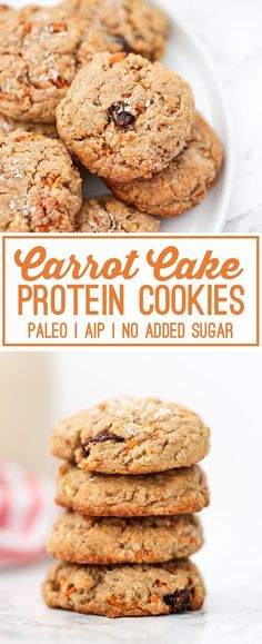 Cake Protein Cookies (Paleo, AIP) These Paleo Carrot Cake Protein Cookies are perfect for dessert or snacks on the go!These Paleo Carrot Cake Protein Cookies are perfect for dessert or snacks on the go! Paleo Dessert, Paleo Snack, Healthy Protein Snacks, Paleo Diet, High Protein, Paleo Mom, Protein Desserts, Healthier Desserts, Recipes