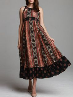 SHARE & Get it FREE | Ethnic Print Sleeveless Scoop Neck Maxi Dress - BlackFor Fashion Lovers only:80,000+ Items • New Arrivals Daily Join Zaful: Get YOUR $50 NOW!