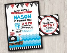 Pirate Birthday Invitation Printable by ThePaperVioletShoppe