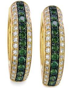 DiaVerde by EFFY White (1/4 ct. t.w.) and Green (1/3 ct. t.w.) Diamond Hoop Earrings in 14k Gold | macys.com