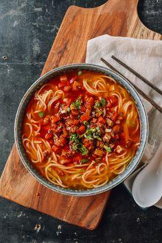 Hot Sauce Noodles - Fiery red chili bean sauce - doubanjiang, peanuts ...