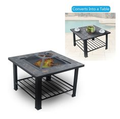 amazoncom outdoor 30 metal firepit coffee table backyard patio garden bon fire