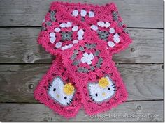 This beautiful crocheted Hello Kitty Granny Square Scarf with a Hello Kitty Granny Square at each end is intended for a 5-year-old girl.