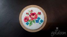 cross stitch brooch,wooden brooch,cross stitch rose,hand stitch, handicraft Ribbon Embroidery, Cross Stitch Embroidery, Small Necklace, Minis, Cross Stitch Rose, Cross Stitching, Handicraft, Needlepoint, Knit Crochet