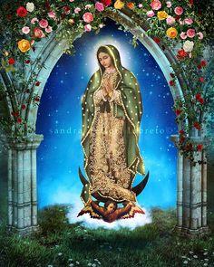 Our Lady of Guadalupe, Catholic Art Print, Virgin Mary print,  by Sandra Lubreto Dettori Catholic Gifts, Catholic Art, Religious Art, Saint Catherine Of Alexandria, The Good Catholic, Canon Ink, Sacred Art, Virgin Mary, Ink Color