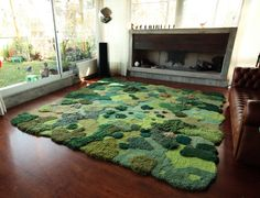 One-of-Kind wool rug artworks by Alexandra Kehayoglou that mimic rolling pastures and mossy textures. Using scraps leftover thread from her family's carpet factory in Buenos Aires, artist Alexandra. Aesthetic Room Decor, Home And Deco, My New Room, Room Inspiration, Bedroom Decor, Fairy Bedroom, Fairytale Bedroom, Bedroom Rugs, House Design