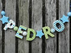 PEDRO  WOODEN LETTER NAME DOOR DECORATION PERSONALISED SHABBY CHIC BABY NURSERY