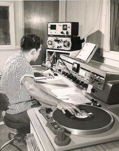 theniftyfifties:  A disc jockey at work in Longview, Texas.  1957.