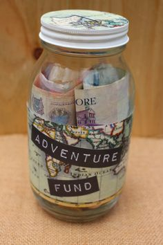 Adventure Fund glass money jar Perfect travel gift by MonikaKVeith
