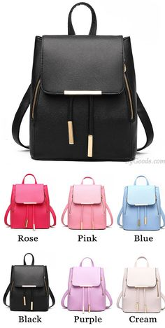 21ed905ebdf7 Elegant Pink Funky Lady Solid Simple Square PU Drawstring Hasp Satchel  Backpack only  36.99