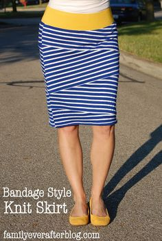 Family Ever After.: Sewing Tutorial: Bandage Style Knit Skirt --- oooooh, perfect length and shape! Sewing Patterns Free, Free Sewing, Sewing Tutorials, Knitting Patterns, Dress Tutorials, Free Pattern, Sewing Projects, Diy Clothing, Sewing Clothes
