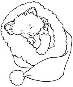 kitten christmas coloring page - Google Search