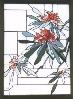 Rhodedendron in stained glass