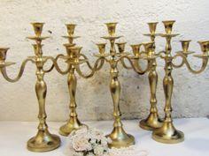 5 mariage bougie candélabres 3 bras minable par AnnClarkDesigns