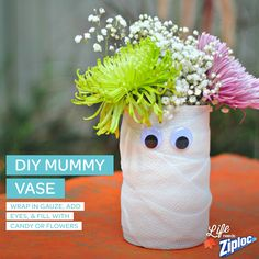 #DIY Mummy Vase with #ziplock.  Brought to you by TwistOP.com