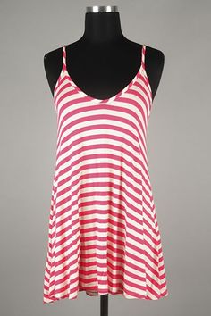 *** New Style *** Flirty Lightweight Knit Tank with Spaghetti Straps in Classic Stripes.