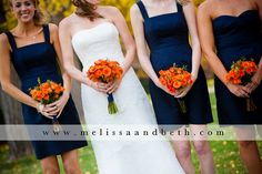 Love the navy bridesmaid dresses with orange bouquets ~ Kansas City Wedding Photographers Melissa & Beth