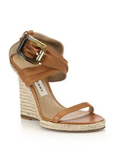 Burberry - Catsbrook Leather Espadrille Wedge Sandals