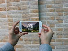 Landscape hand hold iPhone 6s Mockup