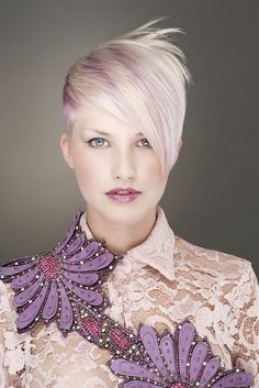 short blonde straight coloured multi-tonal choppy shaved-sides womens haircut hairstyles for women