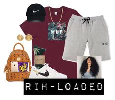 """..."" by rih-loaded ❤ liked on Polyvore featuring Nike Golf, HUF, MCM, NIKE and Versace"