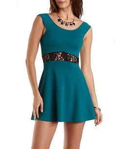 Lace-Waisted Skater Dress