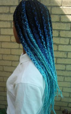 Bright Blue, Ombre Box braids!   Click the link below to get inexpensive Blue ombre JUMBO braiding hair...   http://www.aliexpress.com/store/product/2014-hot-sale-Ombre-xpression-synthetic-braiding-hair-7colors-20-5pcs-set-kanekalon-jumbo-braid-hair/1370073_32238764035.html?aff_platform=ae-aff-deeplink&sk=2ZJ2VBIiI%3A&cpt=1443752549609&aff_trace_key=b0fa936c10f04bdda6c59222aee082da-1443752549609-01876-2ZJ2VBIiI