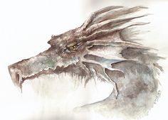 """""""The Old Dragon"""" by Jessica Feinberg. Watercolor Painting would be an awesome TATTOO"""