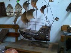 barco pirata tipo carabela con acabado oxido hm4