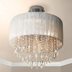 Add luxury lighting to your room with this elegant sheer silver and crystal ceiling light. Top of the shade to the ceiling is Style # 95993 at Lamps Plus. Crystal Ceiling Light, Ceiling Lights, Crystal Lights, Luxury Lighting, Lighting Design, Outdoor Lighting, Bedroom Lighting, Chandelier Lighting, Chandeliers