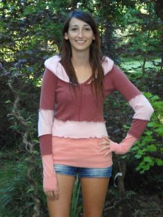 Dragonfly Rags Upcycled Sweater Hoodie-  Adobe - size XS. $70.00, via Etsy.