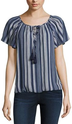 BY AND BY by&by Womens V Neck Short Sleeve Blouse-Juniors