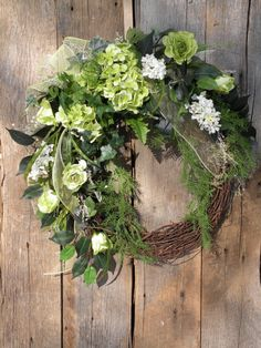 Spring Wreath Cottage Wreath Front Door Wreath by KathysWreathShop, $94.99