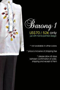 Modern Barong Tagalog Barong Tagalog, Filipiniana, Hand Painted, Pinoy, Nymph, Day, Inspiration, Color, Modern