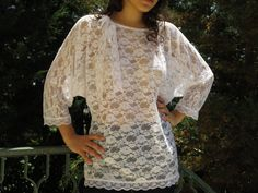 Women's blouse shirt lace vintage style white by karmelidesigns, $43.00