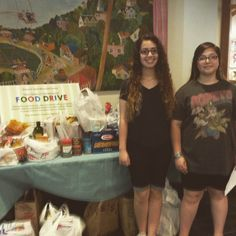 First pick-up for the Food Drive - teen volunteers, Amanda & Alexis!  It will run the entire month of July.