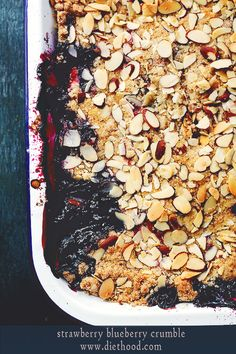 Strawberry Blueberry Crumble - strawberries and blueberries baked with a delicious, crunchy topping of sugar, flour, butter and almonds!-I omitted the almonds :) Blueberry Crumble, Strawberry Blueberry, Blueberry Recipes, Strawberry Recipes, Fruit Crumble, Frozen Desserts, Just Desserts, Dessert Recipes, Crumble Recipe