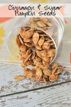 Cinnamon and Sugar Pumpkin Seeds Cinnamon & Sugar Roasted Pumpkin Seeds - Farmer's Wife Rambles Cinnamon Sugar Pumpkin Seeds, Pumpkin Seed Recipes, Pumpkin Ideas, Pumkin Seeds, Cooking Pumpkin Seeds, Sweet Pumpkin Seeds, Toasted Pumpkin Seeds, Fall Recipes, Holiday Recipes