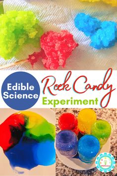 Learn how to make rock candy fast! The rock candy science experiment is a fun edible science project that kids will love! 4th Grade Science Experiments, Candy Experiments, Science Activities For Kids, Science Ideas, Stem Activities, Science Projects, Toddler Activities, Rock Candy Experiment, Make Rock Candy