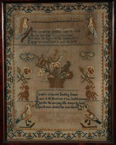 embroidered sampler by Mary Chilcot, 1817
