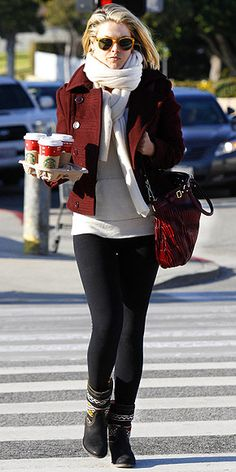ALI LARTER    Ali warms up with chic cold-weather staples like a merlot cropped peacoat and embellished booties during a coffee run in West Hollywood.